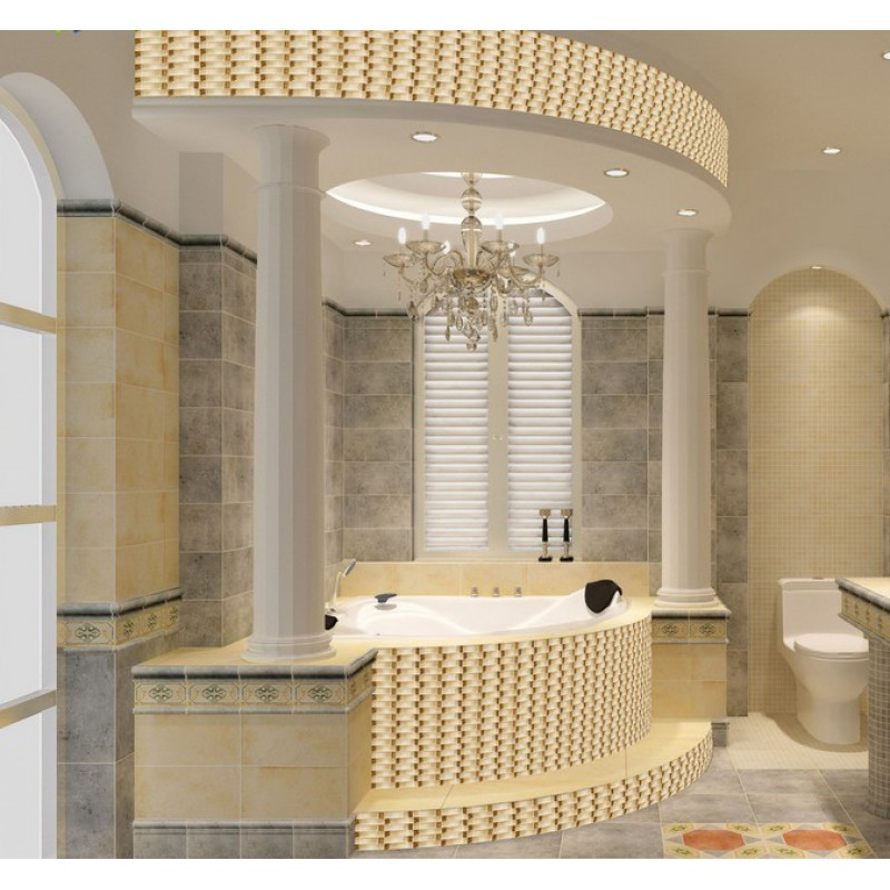Kitchen Design Arch: Hand Painted Crystal Glass Tile Sheets Gold Mosaic