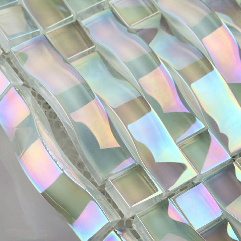 Iridescent Glass Mosaic Tile Sheets Arch Kitchen Mosaic Backsplash Designs