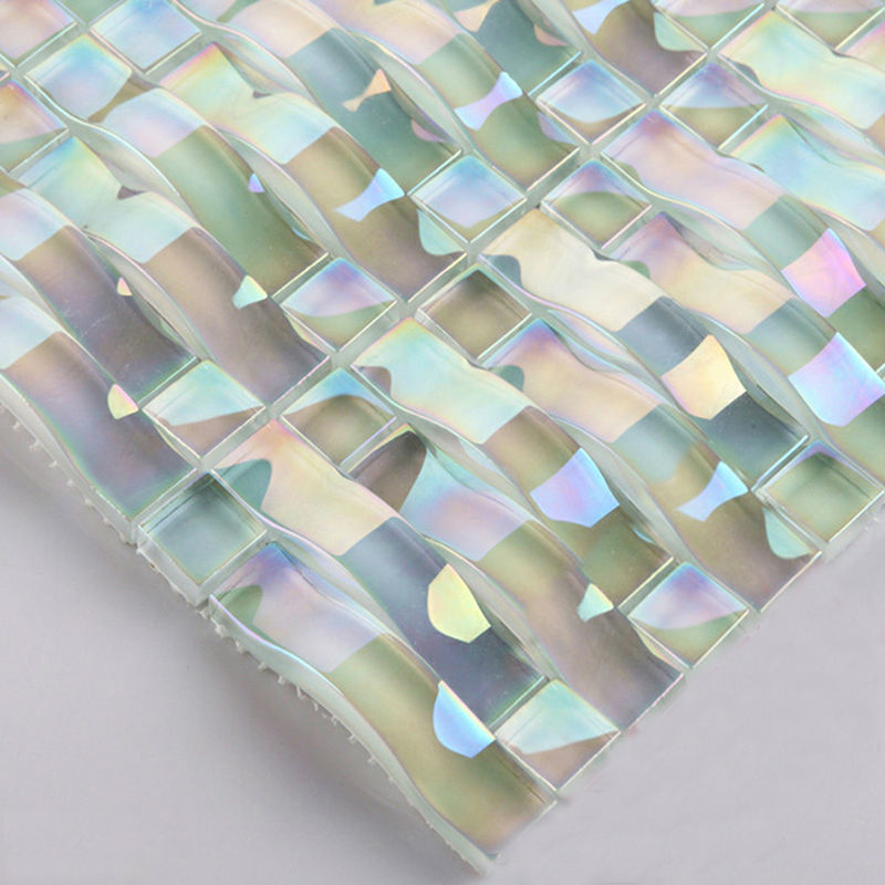 Iridescent Gl Mosaic Tile Sheets Arch Kitchen Backsplash Designs Interlocking Patterns Wall Tiles Decor Cgt89