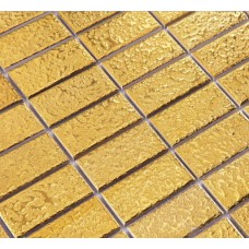 Gold ceramic mosaic tile brick patterns kitchen backsplash ideas bathroom floor cheap porcelain tiles shower wall designs CTCA34