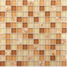 Brown glass tile backsplash ideas for kitchen walls yellow resin chips with conch mosaic designs bathroom tiles patterns GCT21