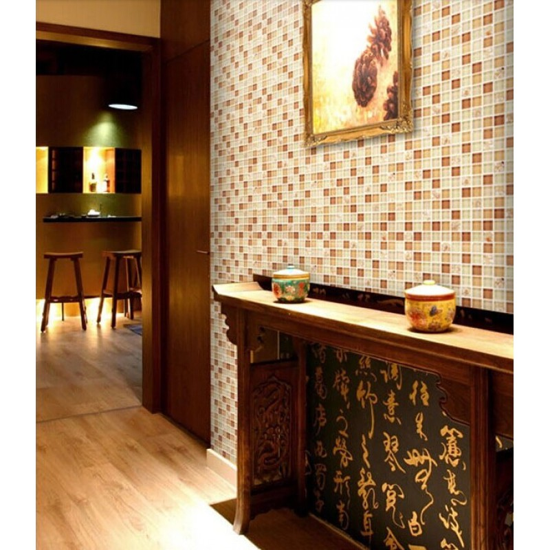 Kitchen Wall Tile Backsplash: Brown Glass Tile Backsplash Ideas For Kitchen Walls Yellow