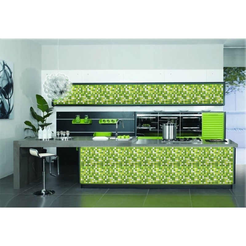 Green Kitchen Backsplash: Glass Mosaic Tile Backsplash Glass Wall Tiles YF-MTLP22