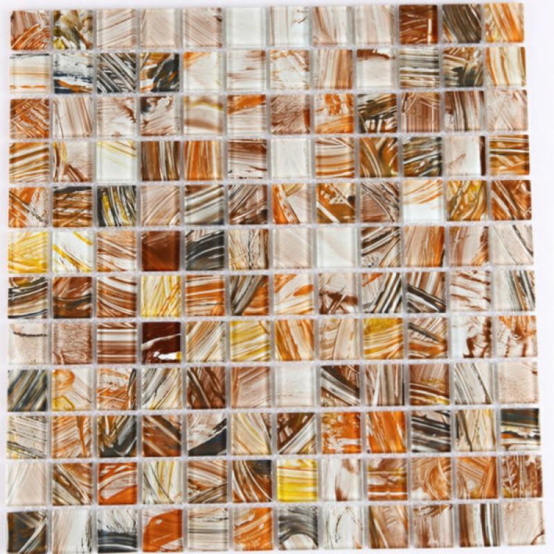 Backsplash Wall Tile Hand Painted Pattern Light Brown Crystal Glass ...