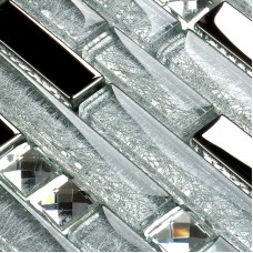 Silver Metal Plated glass tiles for kitchen backsplash mosaic tile interlocking clear crystal wall mirror bathroom shower designs CGT001