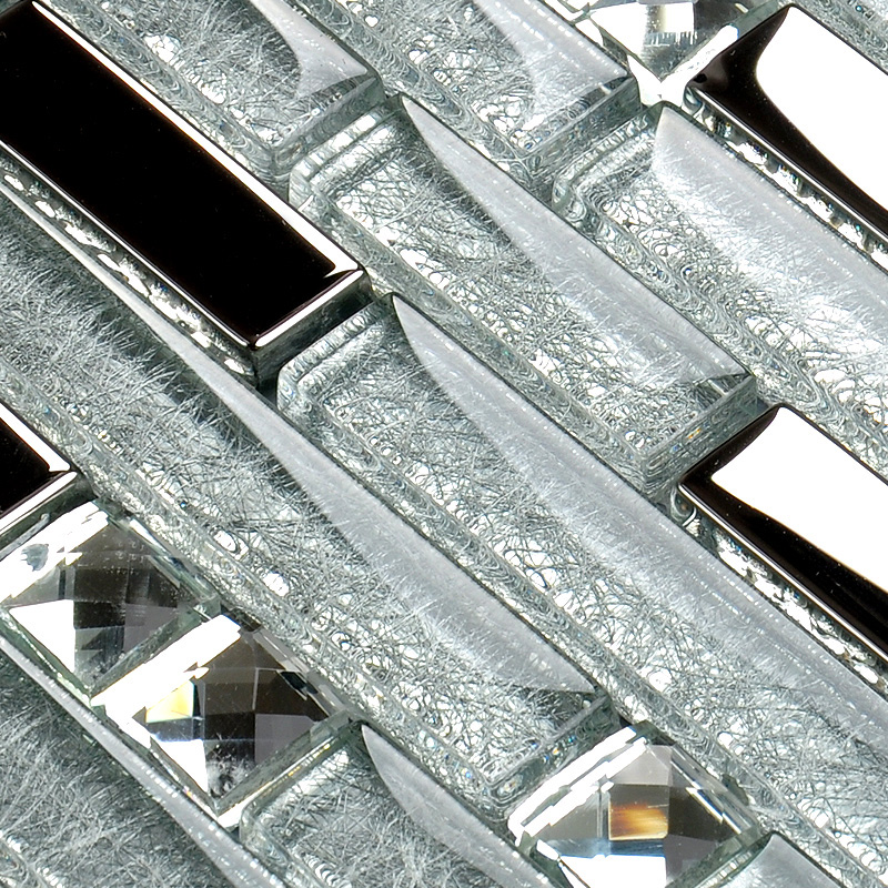 Metal Diamond Glass Tiles For Kitchen Backsplash Silver Stainless Steel Mosaic Tile Interlocking