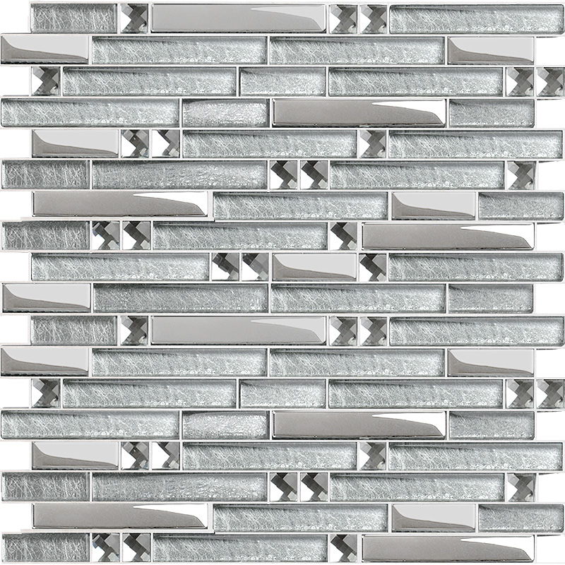 Metal diamond glass tiles for kitchen backsplash silver stainless steel mosaic tile interlocking Backsplash mosaic tile