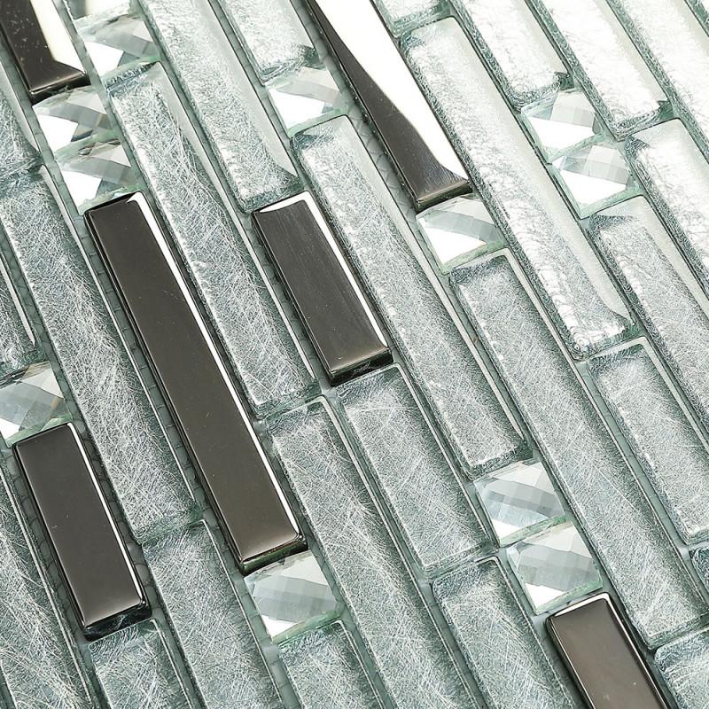 Silver Metal Plated Glass Tiles For Kitchen Backsplash