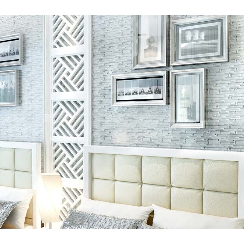 ... Silver Metal Plated Glass Tiles For Kitchen Backsplash Mosaic Tile  Interlocking Clear Crystal Wall Mirror Bathroom ...