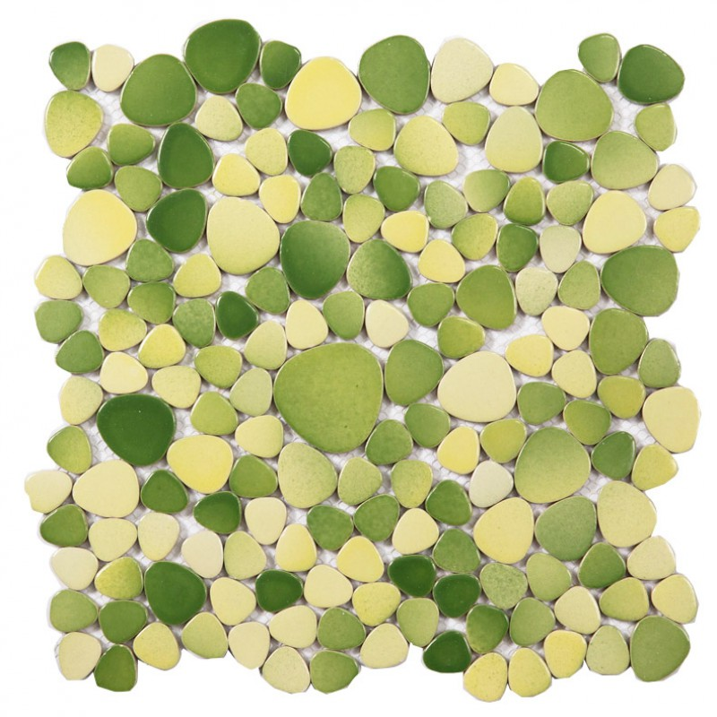 Pebble Porcelain Tiles Bathroom Flooring Wall Decor Green Yellow Mosaic  Mirror Tile Backsplash ZYS11 Bathroom Shower Floor ...
