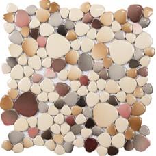 Cheap porcelain floor mosaic pebble tile glazed wall tiles design for bathroom and kitchen backsplash heart-shaped mosaic pebbles PPYS13