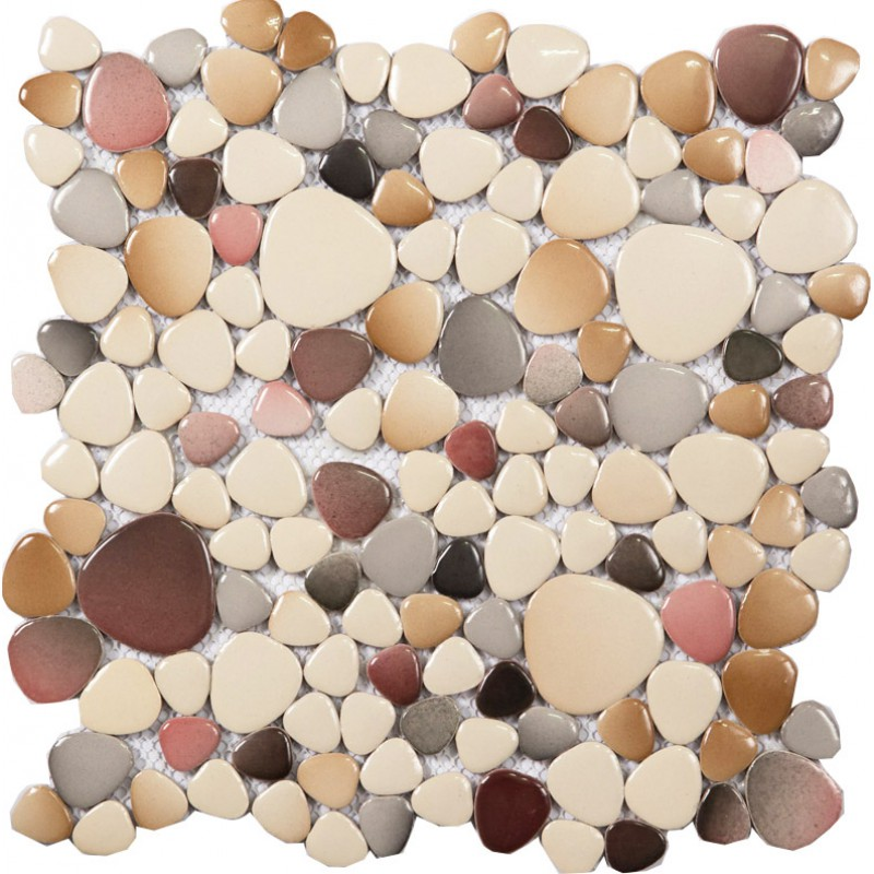 Cheap porcelain floor mosaic pebble tile glazed wall tiles design ...