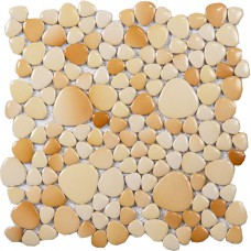 Beige porcelain tile sheets glazed pebbles mosaic wall tiles cheap pebble tile backsplash for bathroom and kitchen PPYS15