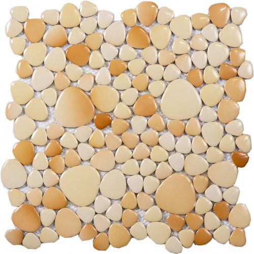 Beige porcelain tile sheets glazed pebbles mosaic wall tiles cheap pebble tile backsplash for bathroom and kitchen PPYS15