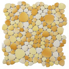 glazed porcelain ceramic mosaic pebble tile yellow porcelain wall tile backsplash ZYS3 bathroom shower floor mirror stickers