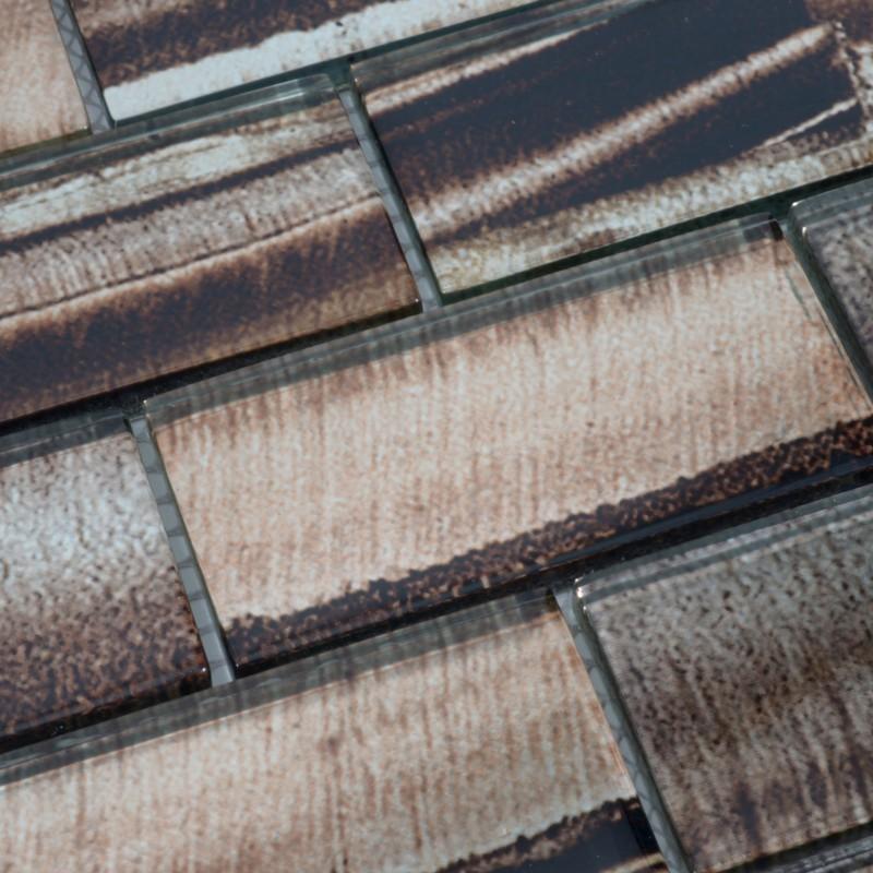 Glass Mosaic Tile Kitchen Backsplash Grey Smile Subway