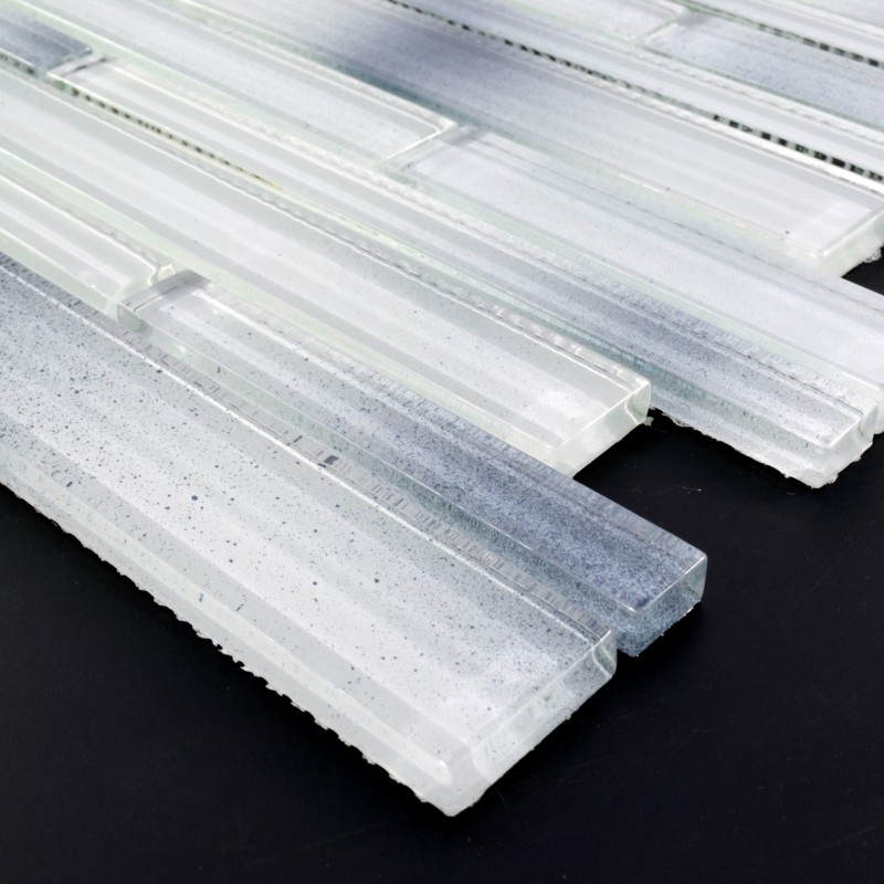 Mosaic Tile Backsplash Interlocking Crystal Glass Tiles White