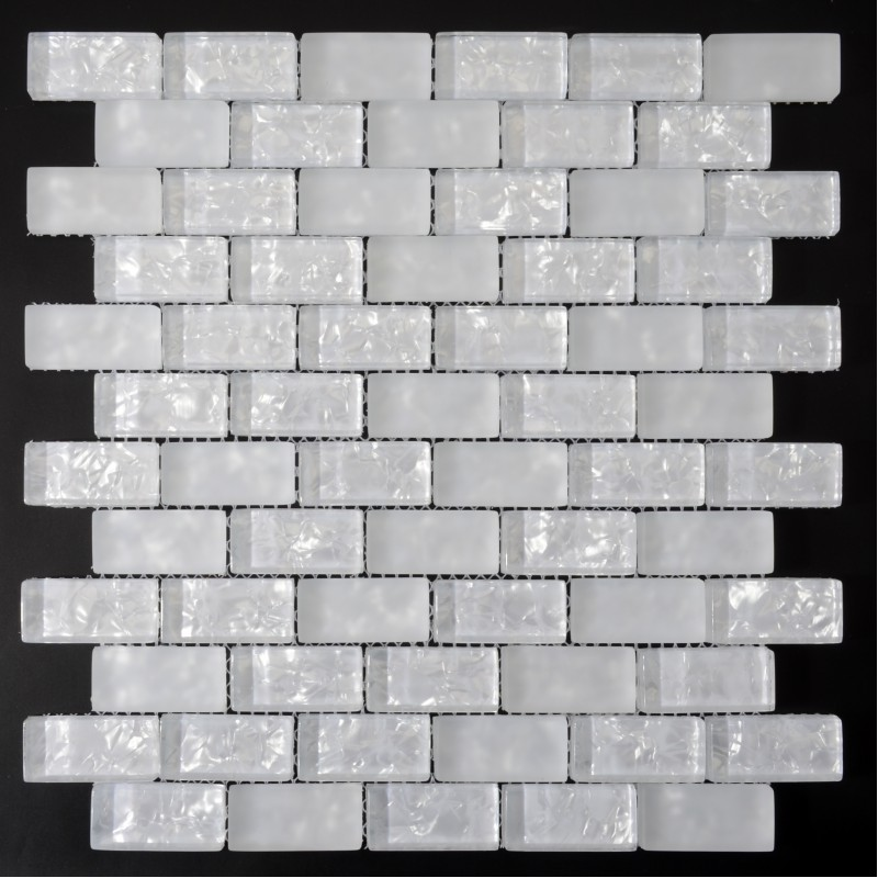 Crystal Glass Tile Sheets Strip Kitchen Backsplash Tile Wall Sticker Ice Pearl Subway Mosaic Tiles For Decorative