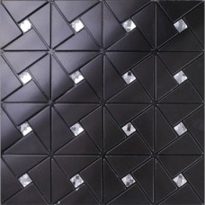 Black alucobond tile self adhesive aluminum composite crystal glass diamond mosaic peel and stick backsplash kitchen wall tiles ALT4061