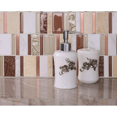 Cream White Stone Glass Mosaic Tile Patterns Brushed Stainless Steel Kitchen Tiles Crystal Backsplash Bathroom Wall Tile sd12