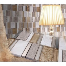 Cream White Stone Glass Mosaic Tile Patterns Brushed Stainless Steel Kitchen Tiles Crystal Backsplash Bathroom Wall Tile sd13