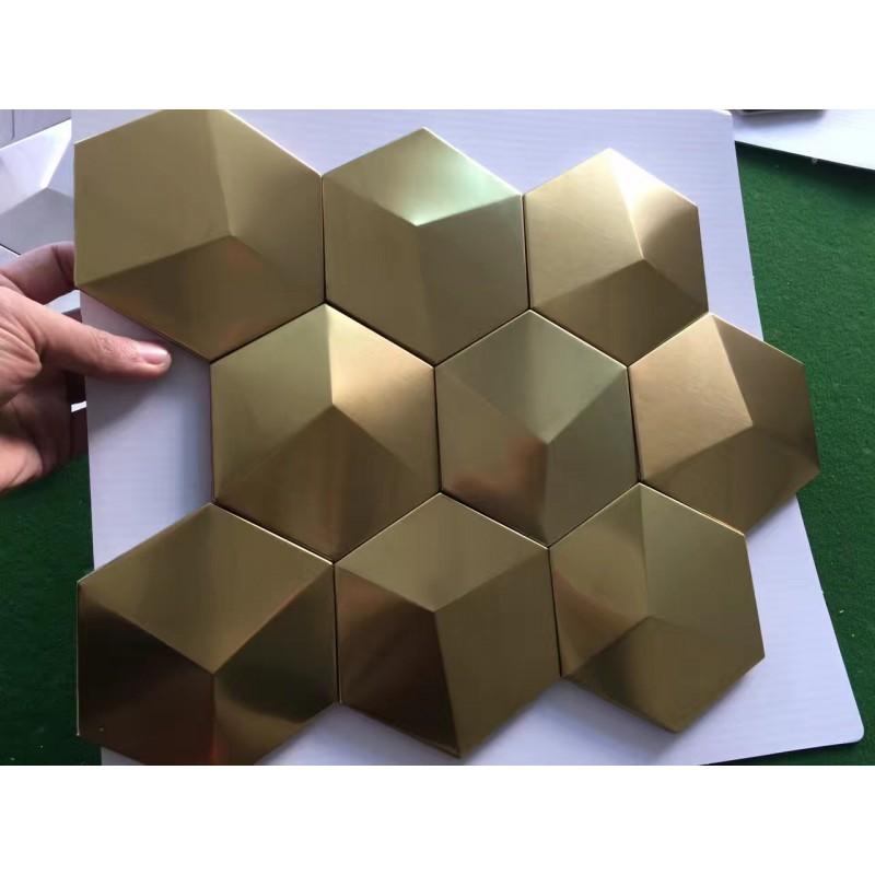 Gold Metal Mosaic Tile Stainless Steel Tile pyramid patterns Kitchen  Backsplash Wall brick Tiles Metal mirror Wall designs XGMT002