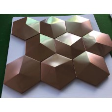 Bronze Metal Mosaic Tile Stainless Steel Tile pyramid patterns Kitchen Backsplash Wall brick Tiles Metal mirror Wall designs XGMT003