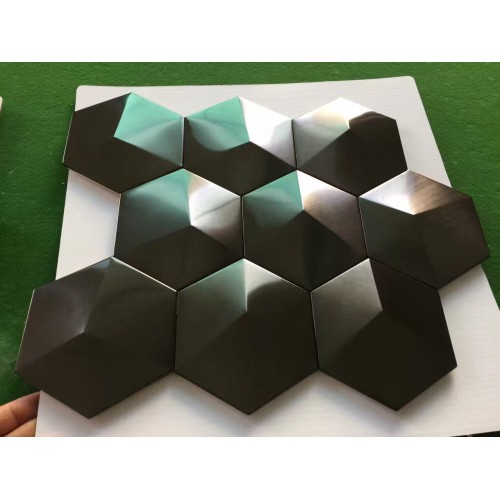 Black Metal Mosaic Tile Stainless Steel Tile Pyramid