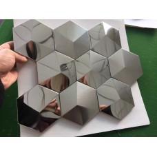Silver Metal Mosaic Tile Stainless Steel Tile pyramid patterns Kitchen Backsplash Wall brick Tiles Metal mirror Wall designs XGMT005
