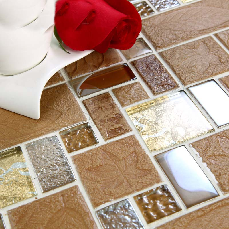 Brown porcelain floor tiles yellow crystal glass tile backsplash ...