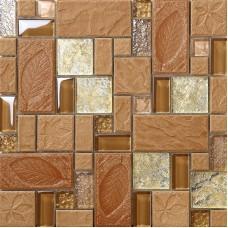 Brown porcelain floor tiles yellow crystal glass tile backsplash ideas bathroom tree leaf patterns cheap mosaic wall decor PGT326
