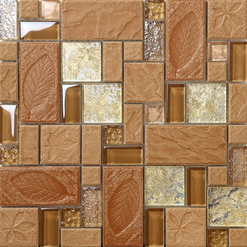 Brown Tile Color Ideas For Decorating: Brown Porcelain Floor Tiles Yellow Crystal Glass Tile