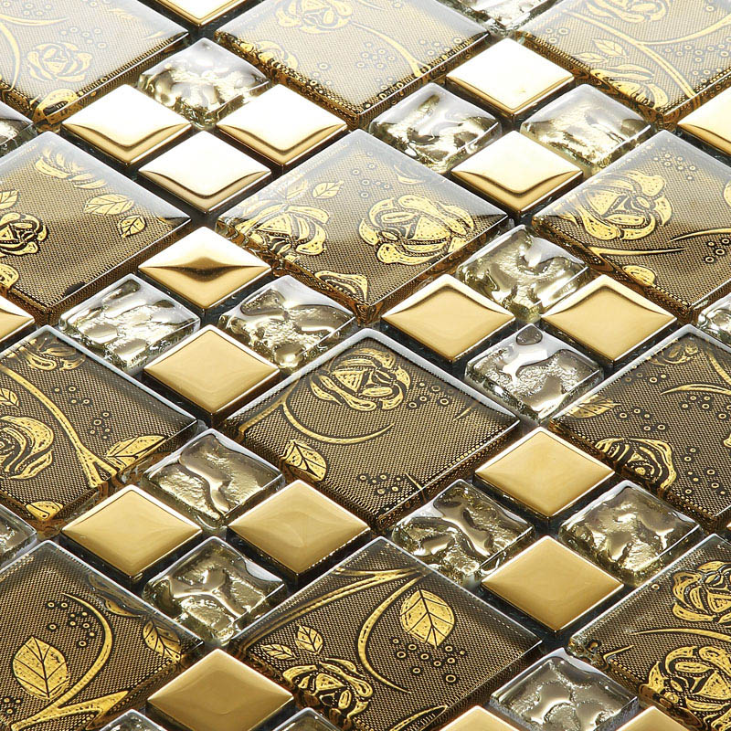 Gold Crystal Glass Mosaic Tile Hand Painted Gold Plated Tile Wall