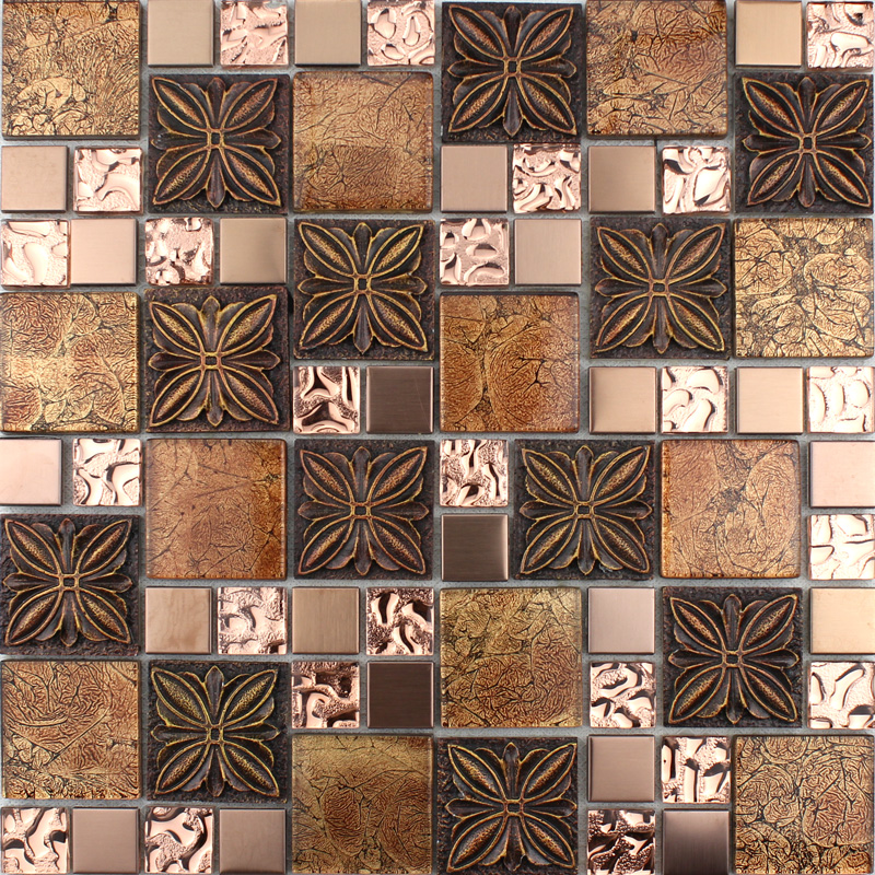 Glass Mosaic Tile Plated Crystal Glass Tile With Procelain ...