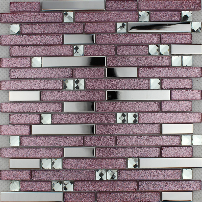 Purple Glass Mosaic Tile Backsplash Silver Stainless Steel Diamond - Purple-mosaic-bathroom-tiles