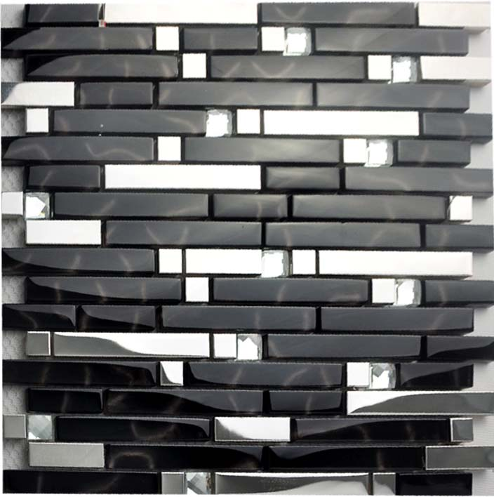 Black And Silver Metal Glass Mosaic Sheets Crystal Diamond