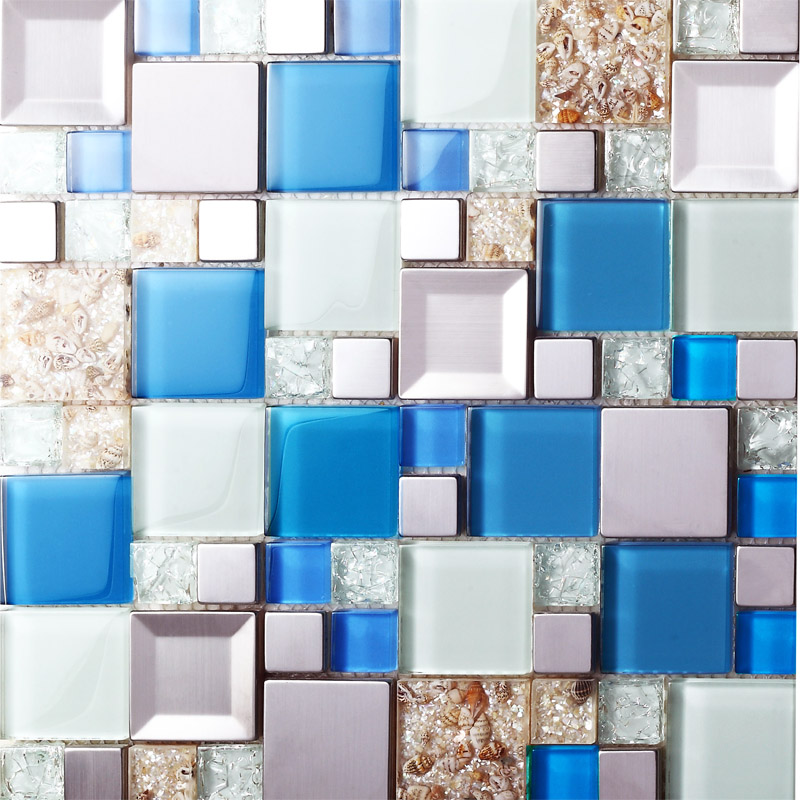 Blue glass mosaic tiles crackle glass tile kitchen wall tv for Glass instead of tiles in kitchen