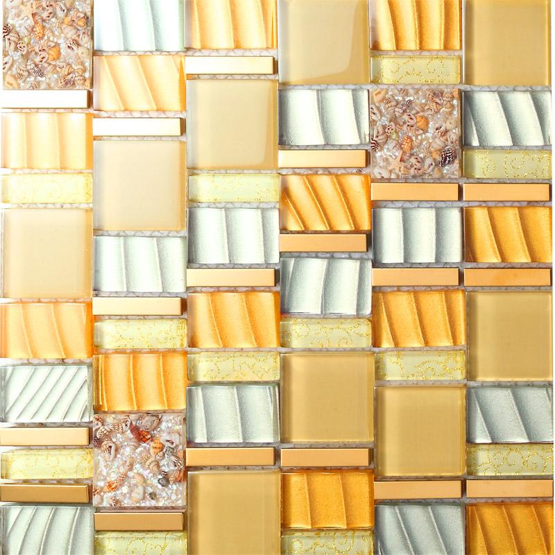 yellow crystal glass mosaic tile resin with conch tiles 304 stainless steel metal tile hall backsplashes tiles bedroom art design sblt205 - Metal Tile Bedroom Design