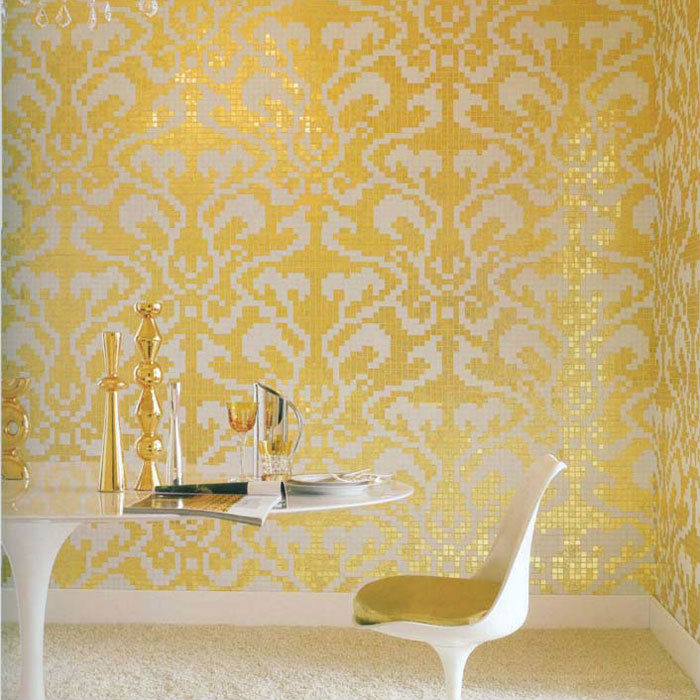 Golden Glass Mosaic Tiles Pattern For Wall Decorative
