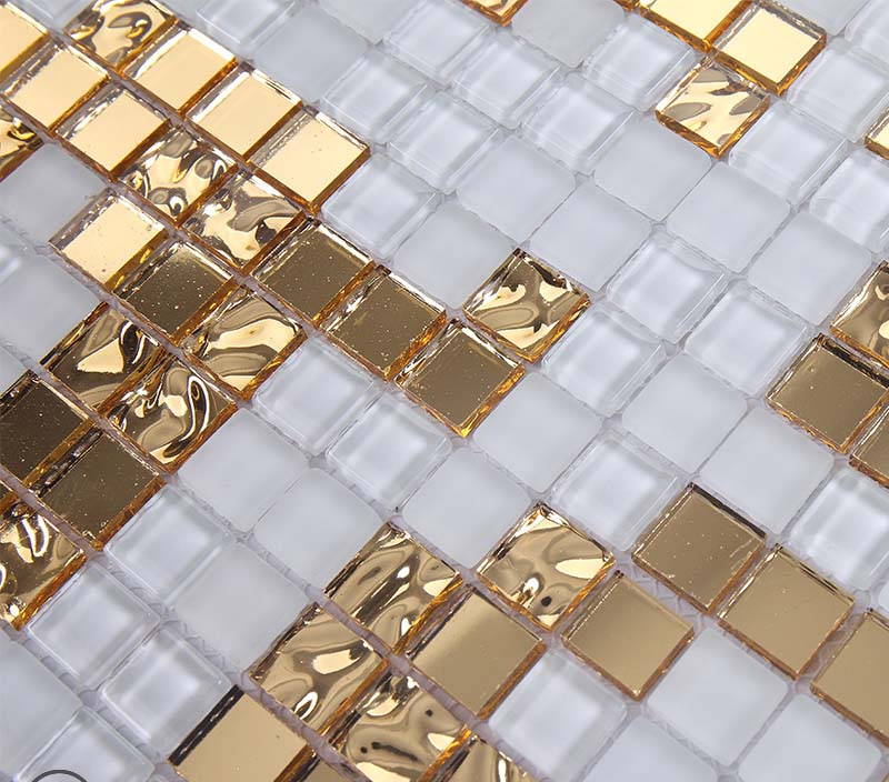Gold And Cream Mirrored Glass Mosaic Tile Murals Frosted