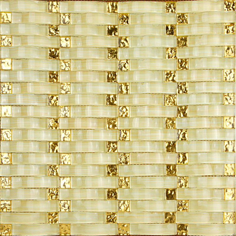 Hand Painted Wavy Mosaic Tile Sheets Bathroom Wall Tiles Crystal Glass Backsplash Small Golden Electroplating
