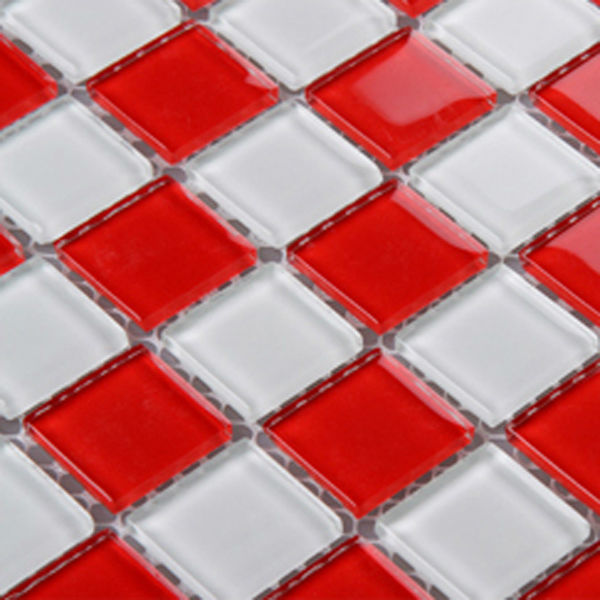 Red Kitchen Glassware: Red Glass Backsplash Tile Kitchen Mosaic Designs 3031