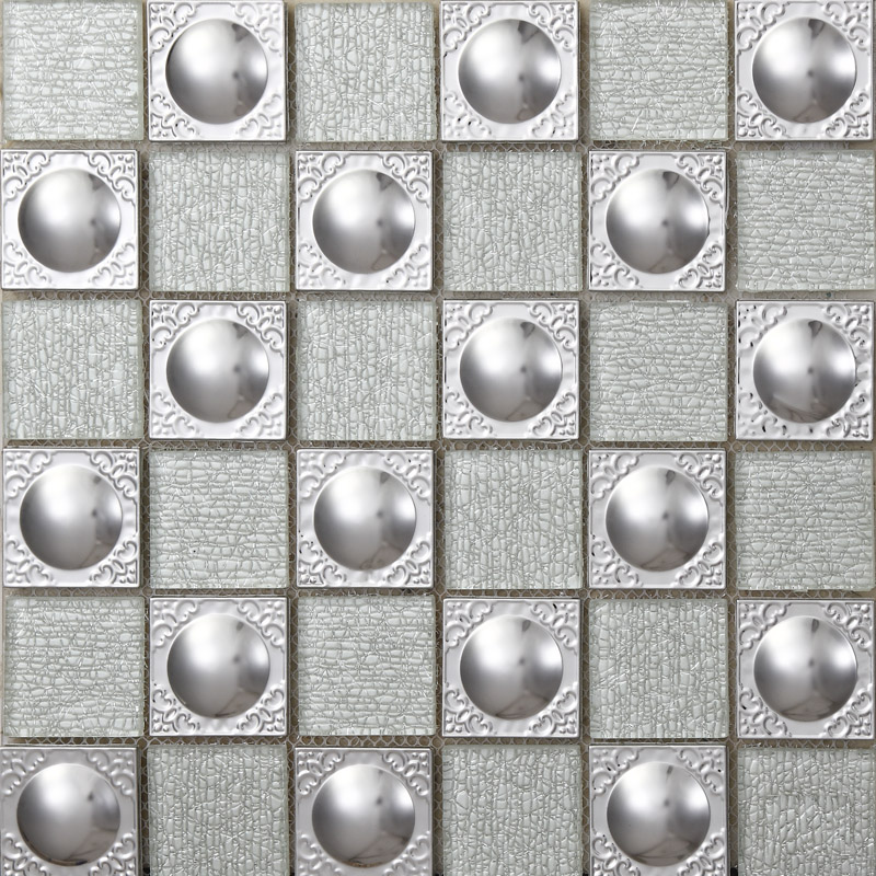 Metallic Kitchen Wall Tiles Metal Mix Glass Mosaic Tile Patterns Grey  Crystal Backsplash Sheets Stainless Steel ...