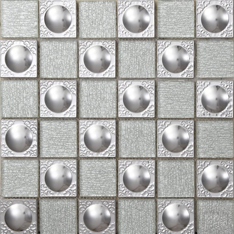 Metallic Kitchen Wall Tiles Metal Mix Glass Mosaic Tile Patterns Grey Crystal Backsplash Sheets Stainless Steel Glass Tile 627