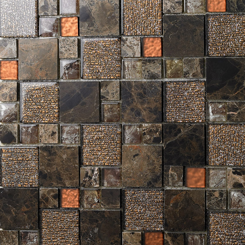 Brown Crystal Glass Mosaic Tile Natural Marble Tile Stone