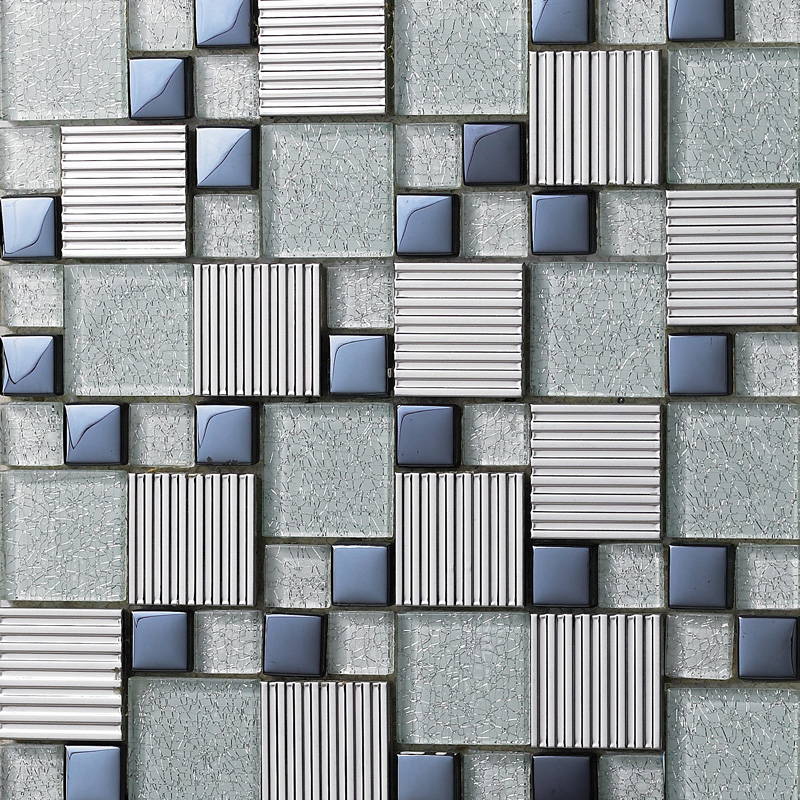 Glass Mix Metal Mosaic Tile Patterns Metallic Bathroom