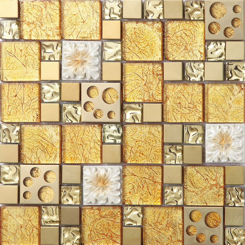 gold crystal glass mosaice tile coating metal tile gold 304 ...