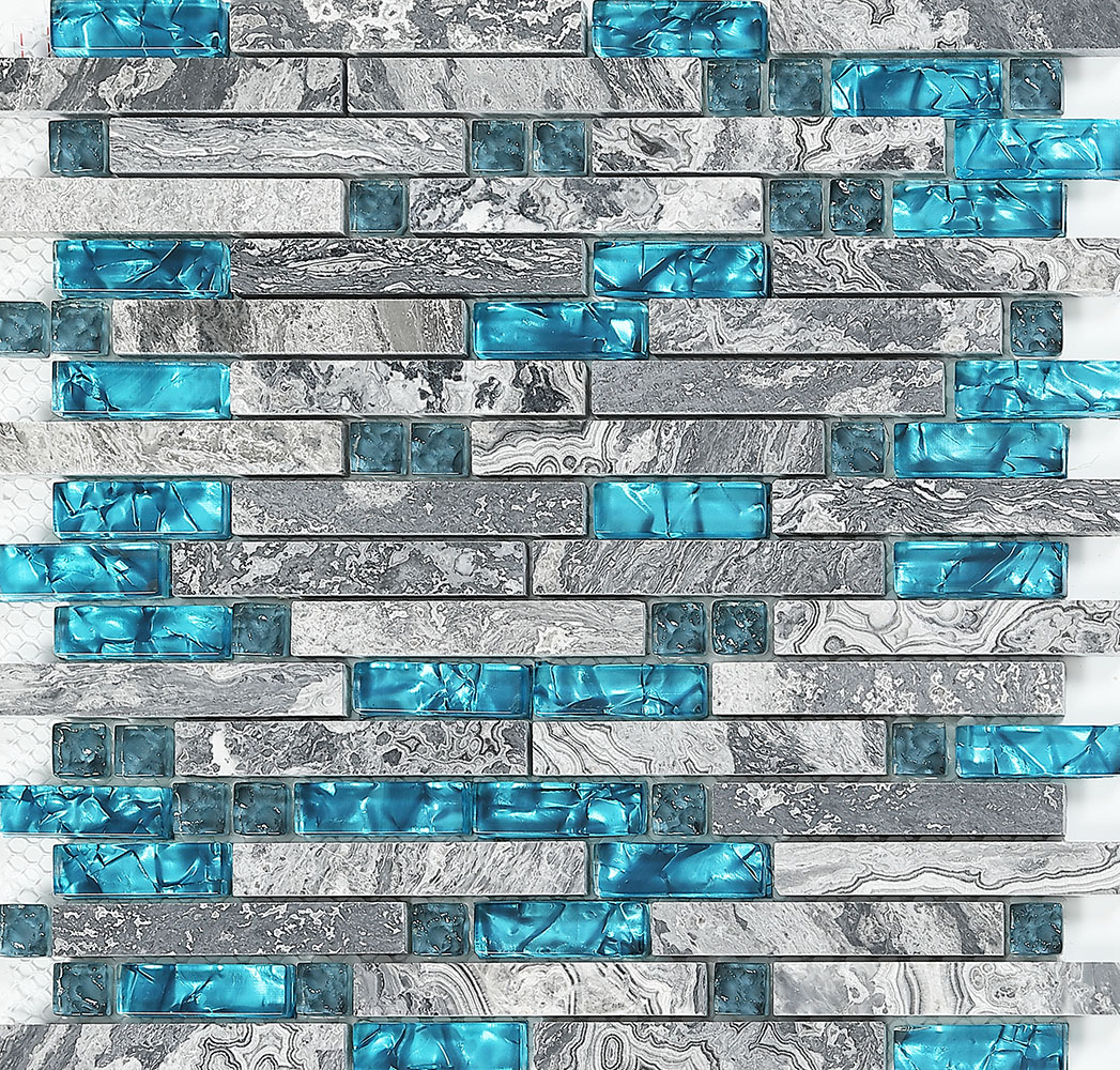 - Blue Glass Stone Mosaic Wall Tiles Gray Marble Tile Kitchen Backsplash  Bravotti.com
