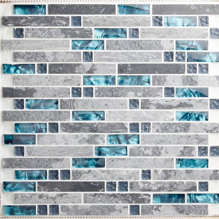 Glass And Stone Blend Mosaic Wall Tile Backsplash Blue Wave Marble Bravotti Com
