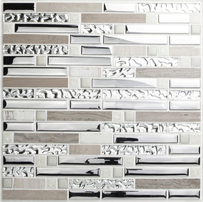 Crackle Crystal Tiles Stone Backsplash Silver Plating Glass And Stainless Steel Bravotti Com